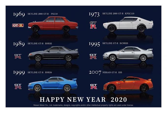GT-RとフェアレディZが描かれたオリジナル年賀状が郵便局の総合印刷サービスにて受付開始