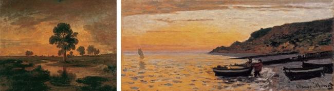 (左)テオドール・ルソー《樫のある風景》制作年不詳 山梨県立美術館(右)クロード・モネ《サン=タドレスの海岸》1864年 栃木県立美術館