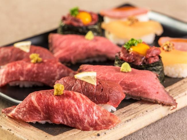 黒毛和牛の寿司が食べ放題!