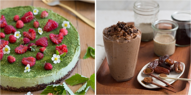 (左)有機抹茶とホワイトチョコのローケーキ (右)モカプロテインスムージー