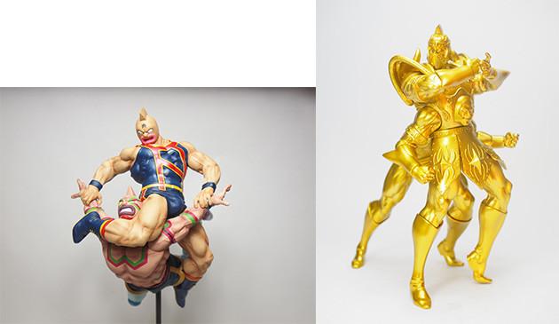 (左)CMC マッスルスパーク 特別カラー メタリック(限定100体)2万6850円(+税)。(右)キンソフ サタンクロス サムソンティーチャーver原作ゴールド(限定40体)9167円(+税)