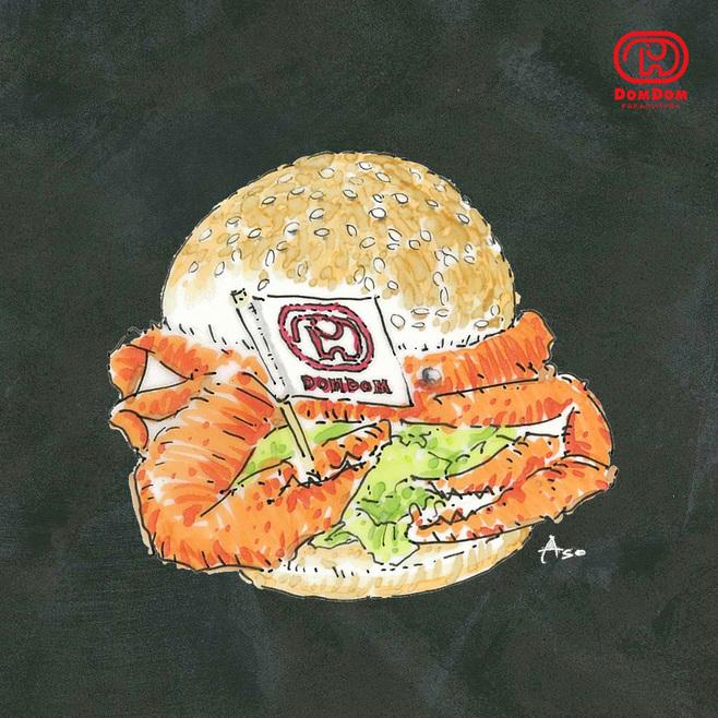 ドムドムハンバーガー「丸ごと!! カニバーガー」(イメージ)