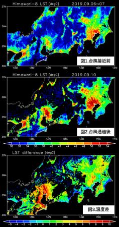 図1~3: 台風15号接近前と通過後の正午付近(11時~14時)に推定された地表面温度から画素ごとに最大値を抽出したもの。図1は9月6日~7日、図2は9月10日、図3は通過前と通過後との温度差。雲により推定できなかった地域と水域は黒色で示す。