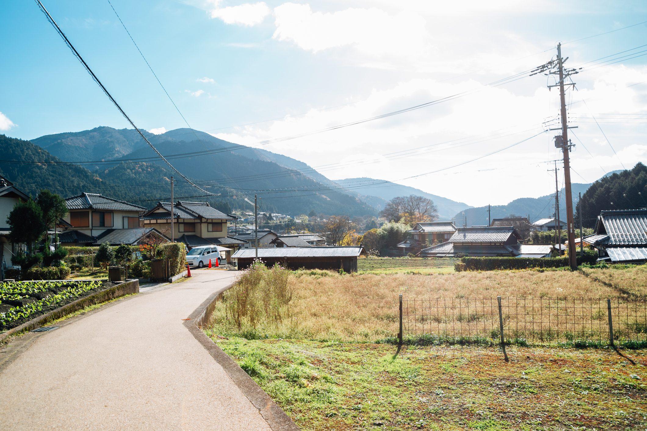京都大原の田舎村自然ビュー