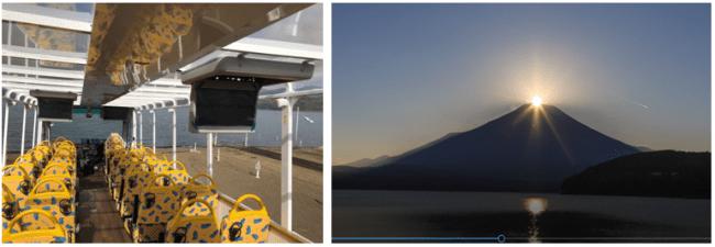 「KABA4」車内の様子/映像で楽しめる山中湖畔ダイヤモンド富士