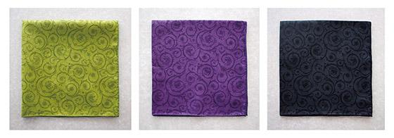 左から「萌葱」「紫」「漆黒」