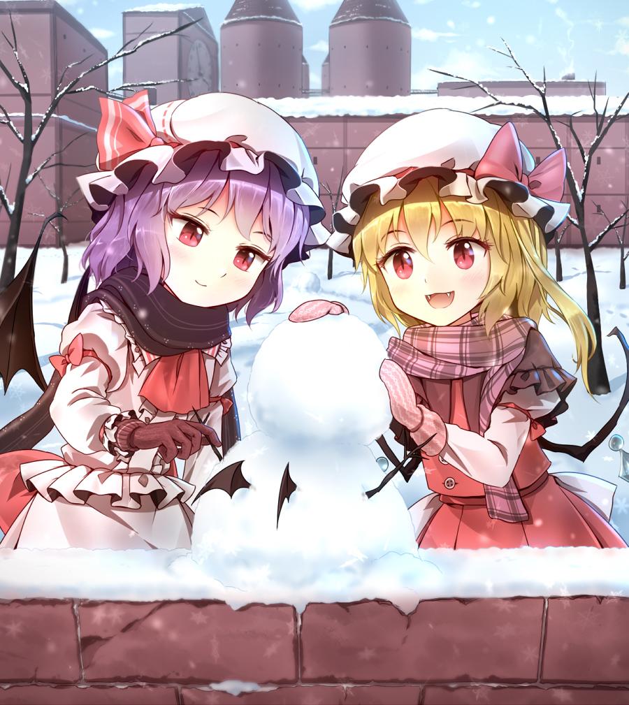 作るって楽しいね 雪だるま 女の子 のイラスト詰め合わせ