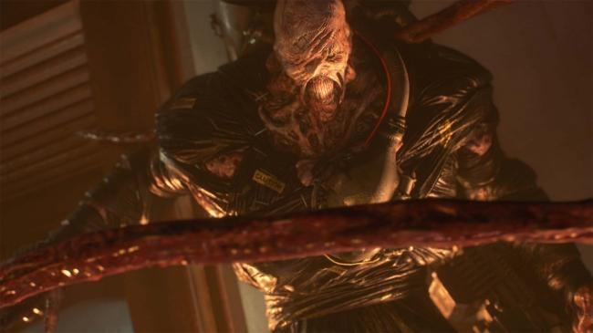 ネメシスはさまざまな武器での攻撃に加えて触手でも攻撃してくる、ジルの行動を封じるべく思いがけない死角から触手が襲ってくる