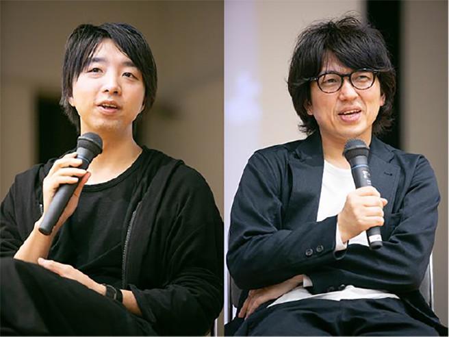 「現代の魔法使い」落合陽一(左)と「チームラボボーダレス」企画運営室室長の杉山 央(右)