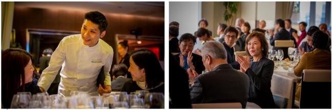 料理の説明をする鴨田料理長/会場「サンス エ サヴール」で食事を楽しむ招待者