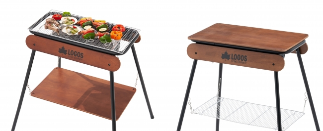 木製パネルは、BBQ時はラック棚として、グリルを使わない時はテーブルとして大活躍。