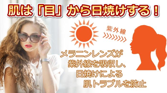 紫外線を吸収し、目からの日焼けを防止するサングラス