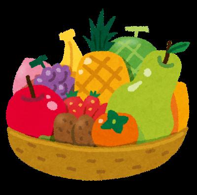 フルーツバスケットのイラスト「カゴに盛られた果物」 | かわいいフリー素材集 いらすとや (2177996)