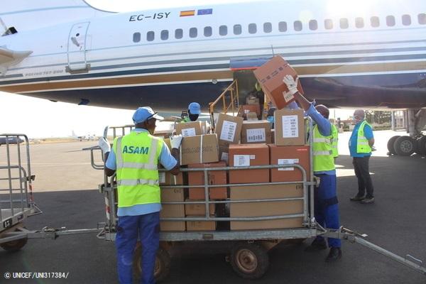 デンマークの航空機でバマコに到着した7.5トンの医療物資。 (2020年4月4日撮影) (C) UNICEF_UNI317384_