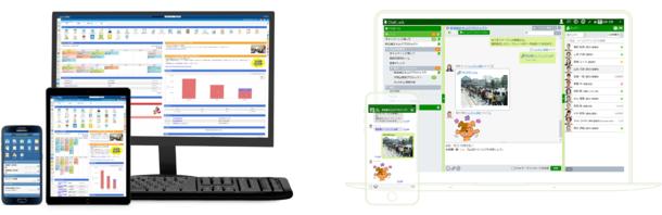 グループウェア『desknet's NEO』(左)とビジネスチャット『ChatLuck』(右)