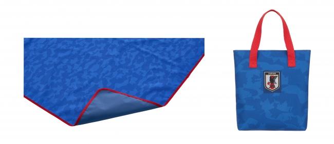 防水仕様のレジャーシート。幅186cm×奥行き145cmのゆったりくつろげるサイズ。(左)裏面にPVCコーティングを施し、地面からの湿気を寄せつけない。 (右)持ち運びに便利な収納バッグ付き。