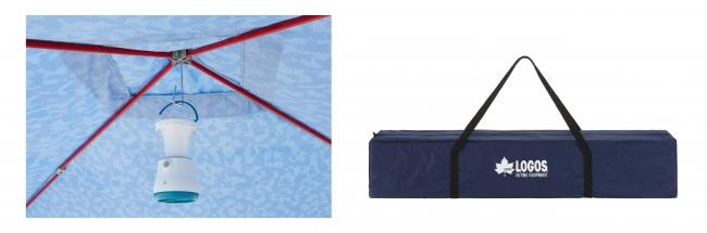 着脱式のランタンフック、持ち運びに便利な収納バッグ付き。