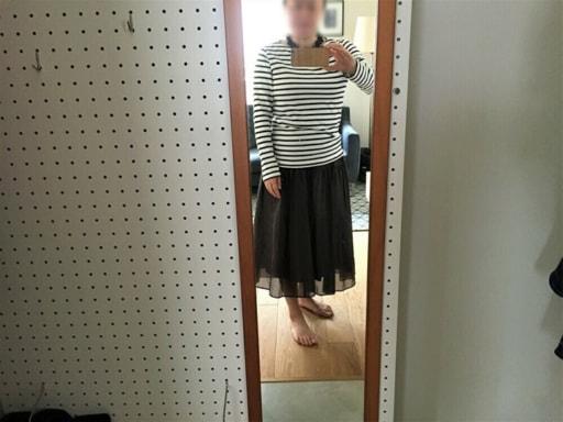 ボーダー柄のカットソー+ネイビーのロングスカート