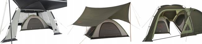 インナーのみのシンプル構造で、手軽にキャンプを楽しめるテント2種。 お持ちのタープやテントと組み合わせれば、雨風や日よけにたいへん便利。
