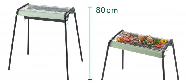 レトロモダンなカラーリングの多機能グリル2種。 調理しやすい高さ約80cmと、ロースタイルBBQに最適な高さ約37cmの2段階調節可能。