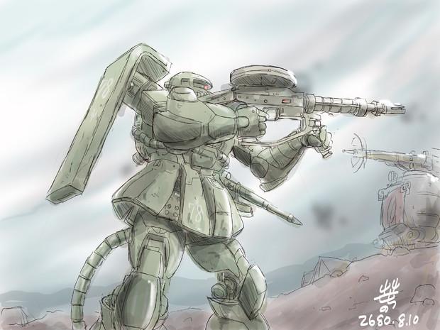 『阿蘇の戦いにおける戦闘中のジオンのザク』のサムネイル