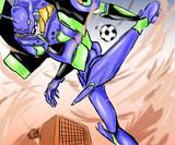 日常×EVA 囲碁サッカー中のエヴァ初号機
