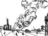 巨大飛行船が爆発炎上するアニメーション