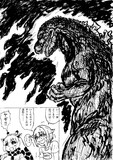 巨大怪獣とツーショット自撮り写真を撮る企画に挑戦する輿水幸子